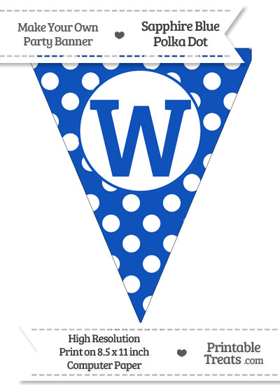 Sapphire Blue Polka Dot Pennant Flag Capital Letter W from PrintableTreats.com