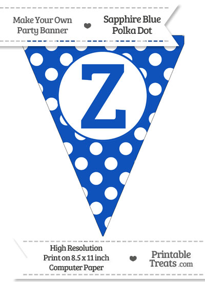 Sapphire Blue Polka Dot Pennant Flag Capital Letter Z from PrintableTreats.com