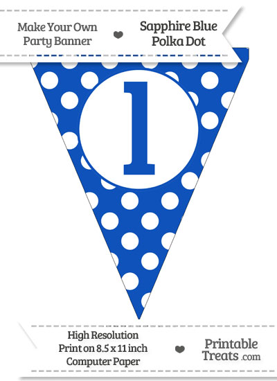 Sapphire Blue Polka Dot Pennant Flag Lowercase Letter L from PrintableTreats.com