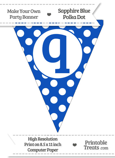 Sapphire Blue Polka Dot Pennant Flag Lowercase Letter Q from PrintableTreats.com
