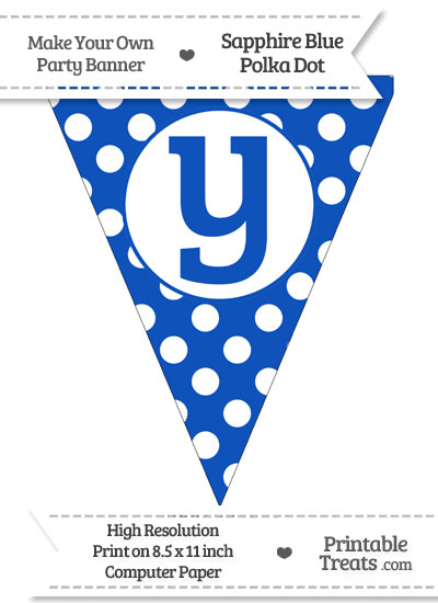 Sapphire Blue Polka Dot Pennant Flag Lowercase Letter Y from PrintableTreats.com