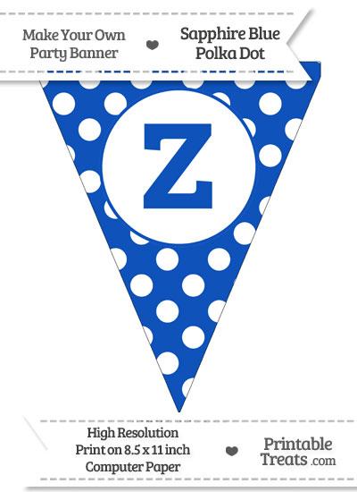 Sapphire Blue Polka Dot Pennant Flag Lowercase Letter Z from PrintableTreats.com