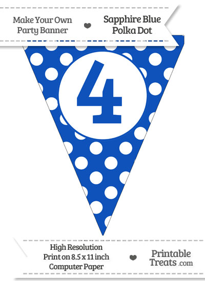 Sapphire Blue Polka Dot Pennant Flag Number 4 from PrintableTreats.com