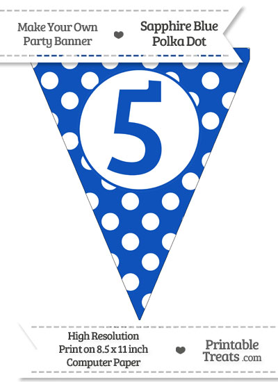 Sapphire Blue Polka Dot Pennant Flag Number 5 from PrintableTreats.com