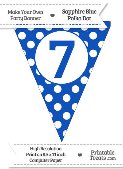 Sapphire Blue Polka Dot Pennant Flag Number 7 from PrintableTreats.com