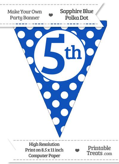 Sapphire Blue Polka Dot Pennant Flag Ordinal Number 5th from PrintableTreats.com