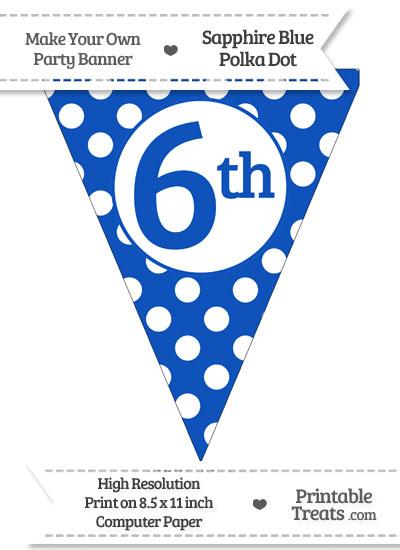 Sapphire Blue Polka Dot Pennant Flag Ordinal Number 6th from PrintableTreats.com