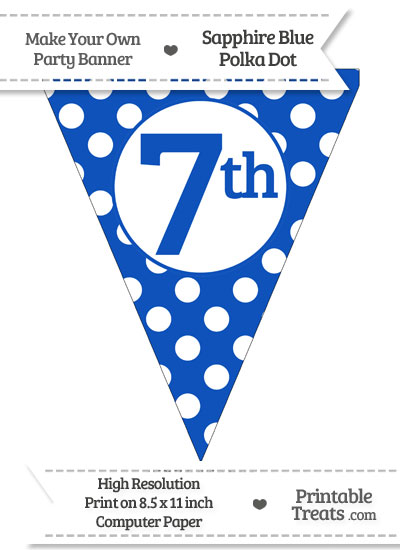 Sapphire Blue Polka Dot Pennant Flag Ordinal Number 7th from PrintableTreats.com