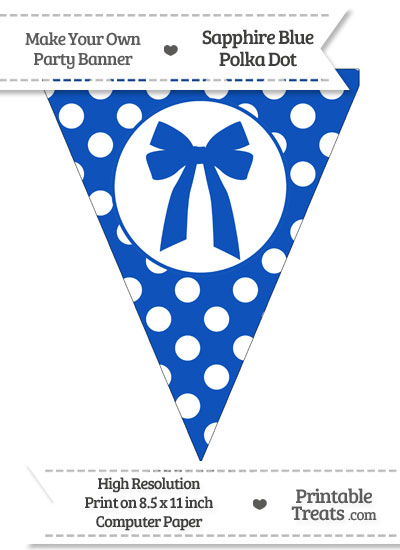 Sapphire Blue Polka Dot Pennant Flag with Bow from PrintableTreats.com