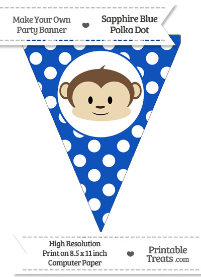 Sapphire Blue Polka Dot Pennant Flag with Boy Monkey from PrintableTreats.com