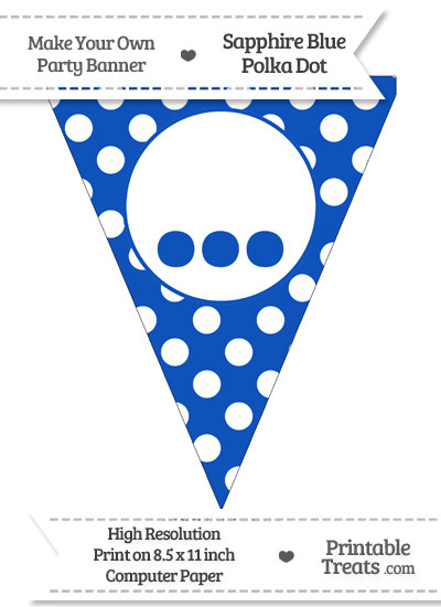 Sapphire Blue Polka Dot Pennant Flag with Ellipses from PrintableTreats.com