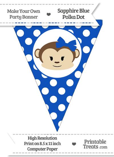 Sapphire Blue Polka Dot Pennant Flag with Girl Monkey from PrintableTreats.com