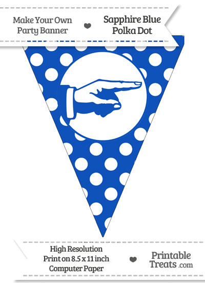 Sapphire Blue Polka Dot Pennant Flag with Hand Pointing Right from PrintableTreats.com