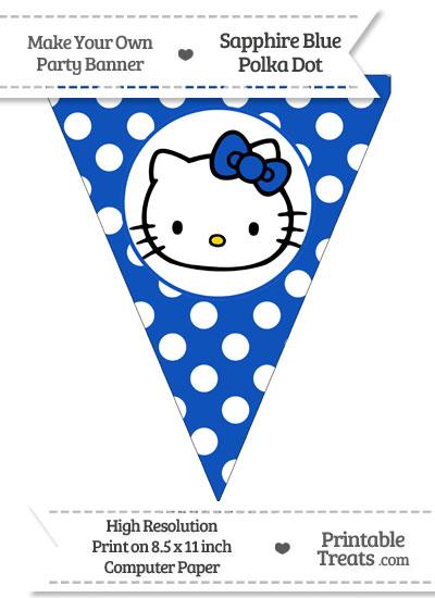 Sapphire Blue Polka Dot Pennant Flag with Hello Kitty from PrintableTreats.com