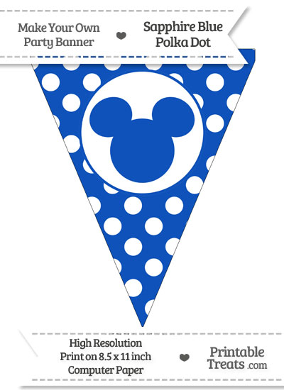 Sapphire Blue Polka Dot Pennant Flag with Mickey Mouse from PrintableTreats.com