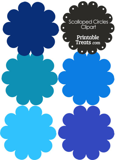 Scalloped Circles Clipart in Shades of Blue from PrintableTreats.com