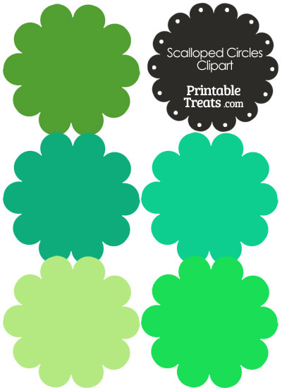 Scalloped Circles Clipart in Shades of Green from PrintableTreats.com