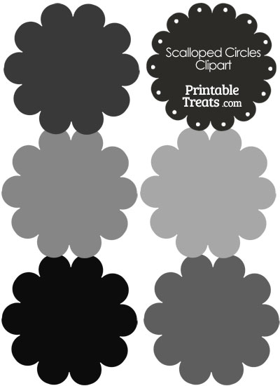 Scalloped Circles Clipart in Shades of Grey from PrintableTreats.com