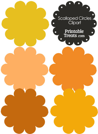 Scalloped Circles Clipart in Shades of Orange from PrintableTreats.com