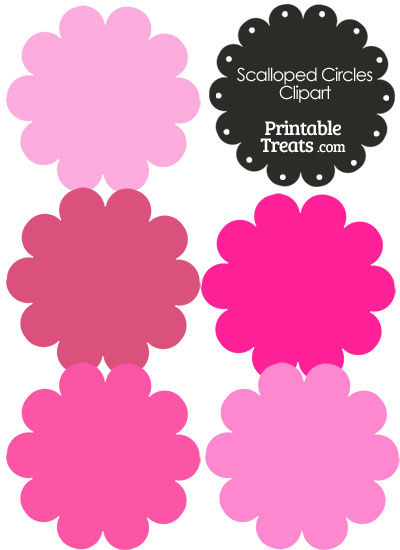 Scalloped Circles Clipart in Shades of Pink from PrintableTreats.com