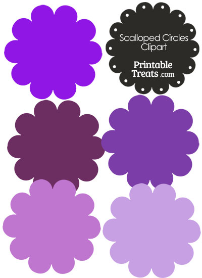 Scalloped Circles Clipart in Shades of Purple from PrintableTreats.com