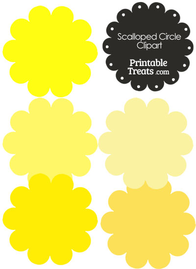 Scalloped Circles Clipart in Shades of Yellow from PrintableTreats.com