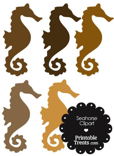 Seahorse Clipart in Shades of Brown from PrintableTreats.com