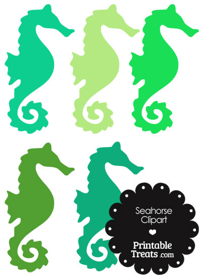 Seahorse Clipart in Shades of Green from PrintableTreats.com
