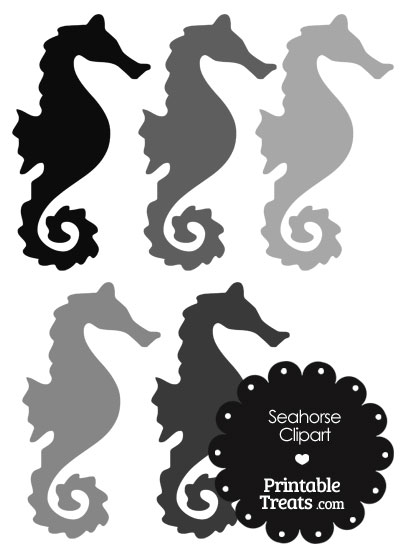 Seahorse Clipart in Shades of Grey from PrintableTreats.com