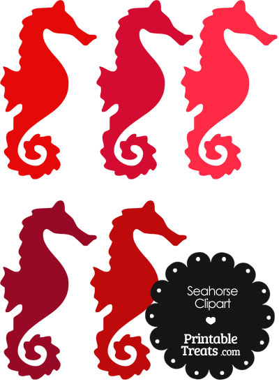 Seahorse Clipart in Shades of Red from PrintableTreats.com