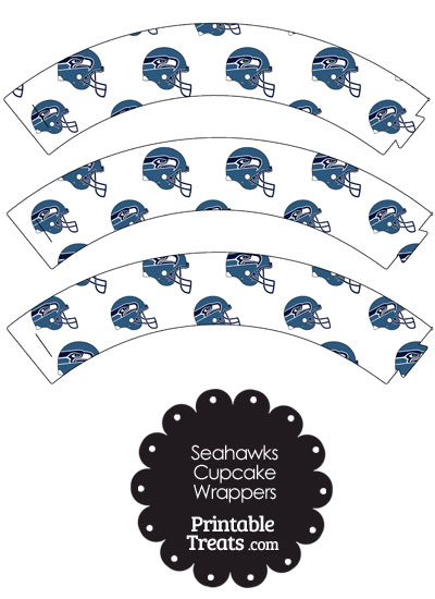 Seattle Seahawks Football Helmet Cupcake Wrappers from PrintableTreats.com