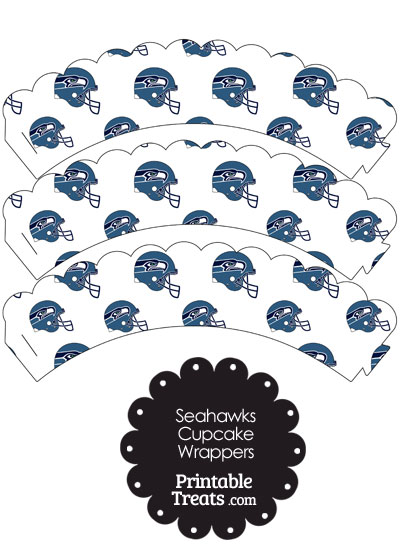 Seattle Seahawks Football Helmet Scalloped Cupcake Wrappers from PrintableTreats.com