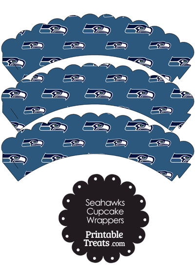 Seattle Seahawks Logo Scalloped Cupcake Wrappers from PrintableTreats.com