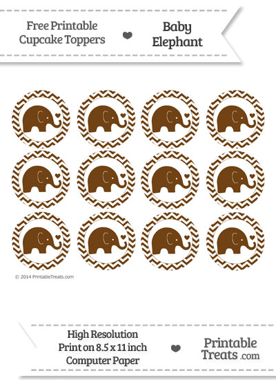 Sepia Baby Elephant Chevron Cupcake Toppers from PrintableTreats.com