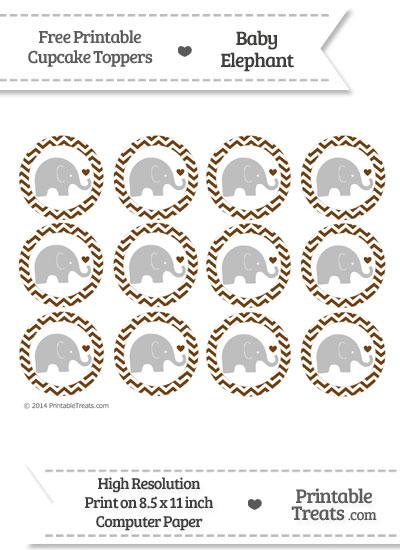 Sepia Chevron Baby Elephant Cupcake Toppers from PrintableTreats.com