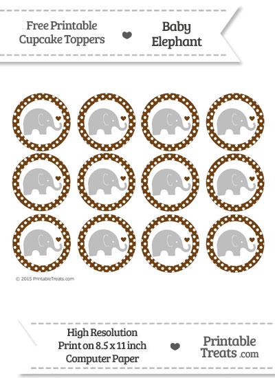 Sepia Polka Dot Baby Elephant Cupcake Toppers from PrintableTreats.com