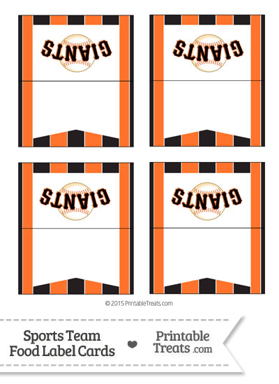 SF Giants Food Label Buffet Cards from PrintableTreats.com