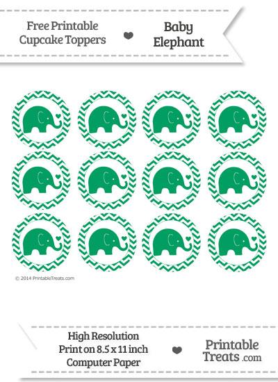Shamrock Green Baby Elephant Chevron Cupcake Toppers from PrintableTreats.com