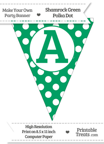 Shamrock Green Polka Dot Pennant Flag Capital Letter A from PrintableTreats.com
