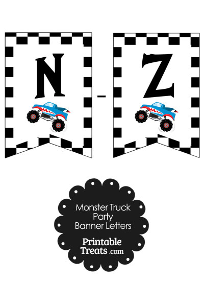Shark Monster Truck Banner Letters N-Z from PrintableTreats.com