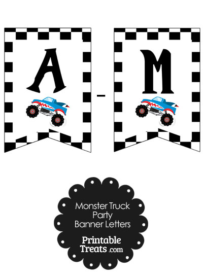 Shark Monster Truck Birthday Bunting Banner Letters A-M from PrintableTreats.com