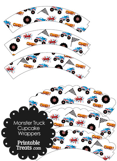 Printable Shark Monster Truck Cupcake Wrappers from PrintableTreats.com