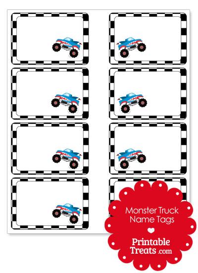 Printable Shark Monster Truck Name Tags from PrintableTreats.com