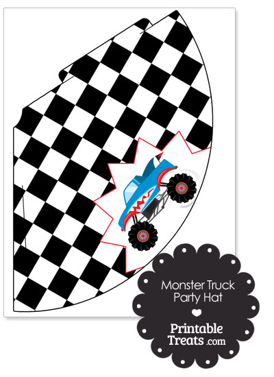Shark Monster Truck Party Hat by PrintableTreats.com