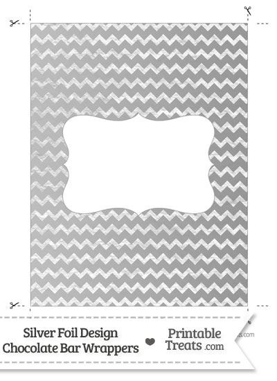 Silver Foil Chevron Chocolate Bar Wrappers from PrintableTreats.com