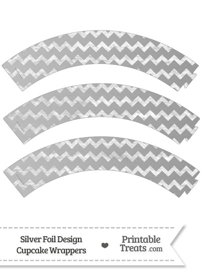 Silver Foil Chevron Cupcake Wrappers from PrintableTreats.com