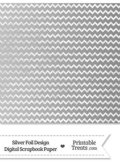 Silver Foil Chevron Digital Scrapbook Paper from PrintableTreats.com