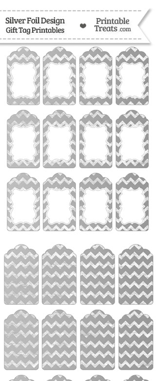 Silver Foil Chevron Gift Tags from PrintableTreats.com