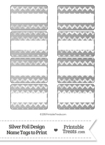 Silver Foil Chevron Name Tags from PrintableTreats.com