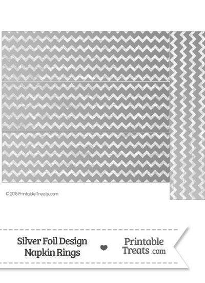 Silver Foil Chevron Napkin Rings from PrintableTreats.com